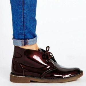 🔥 Clarks Patent Leather Desert Chukka Boot-Wine🔥